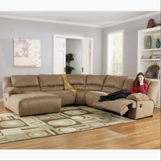 This Is Our New Ashley Furniture Sectional...Hogan, Mocha Only It Has Two  Extra Pieces That Are Called Consoles That Have Cup Holders And Stow Awayu2026