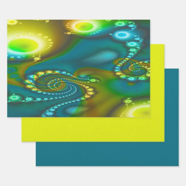 Fractal 2020 Christmas Gift Teal, Turquoise, and Yellow Fractal Wrapping Paper Sheets   Zazzle