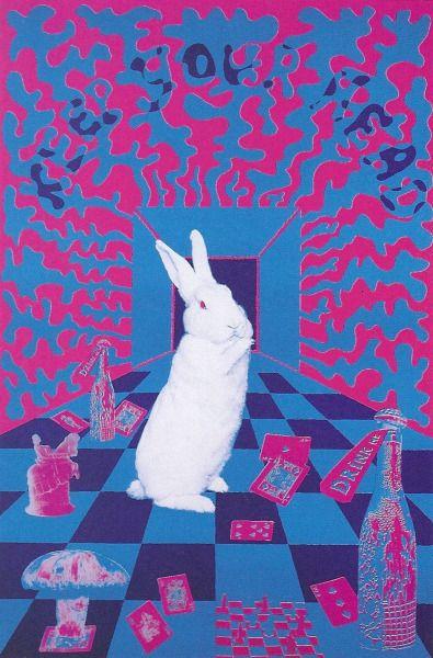 psychedelicdisaster:  White Rabbit  Poster art by Joe McHugh