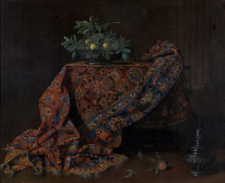 Ecole française, ca 1670 - Nature morte au tapis iranien, vase de fleurs et singe