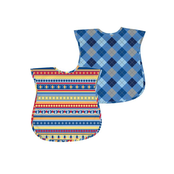Green Sprouts by i play. 2-pk. Argyle and Striped Waterproof Bibs - Baby, Blue