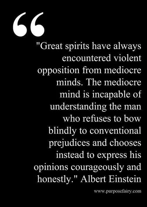 """Great spirits have always encountered violent opposition from mediocre minds. The mediocre mind is incapable of understanding the man who refuses to bow blindly to conventional prejudices and chooses instead to express his opinions courageously and honestly."" - Albert Einstein"