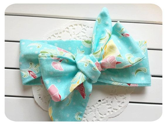 Baby Headwrap Aqua and pink Floral Head wrap by AllureHandmade