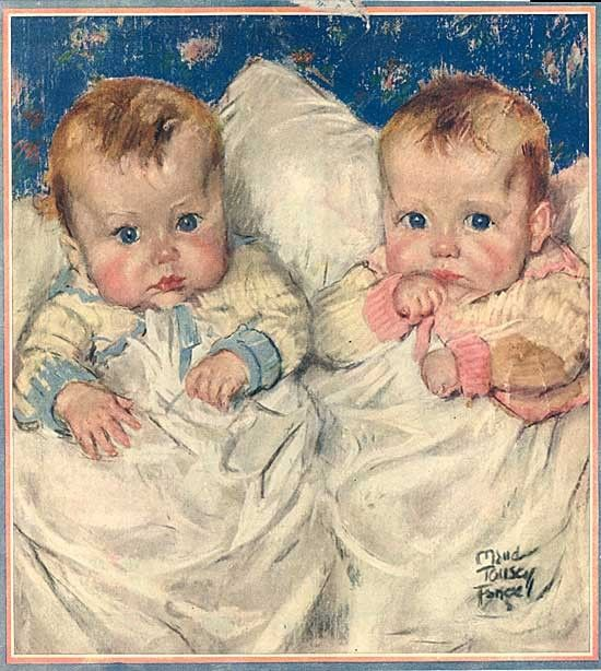 Vintage 1921 Very Cute Babies Illustration Print by Maud Tousey Fangel Girl and Boy.