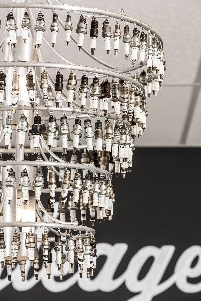 Chandelier made of spark-plugs. so cool!                                                                                                                                                      More