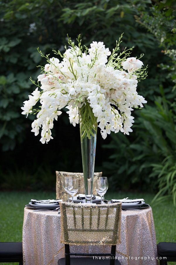 Orchid Centerpiece with Theo Milo Photography for a Great Gatsby themed wedding