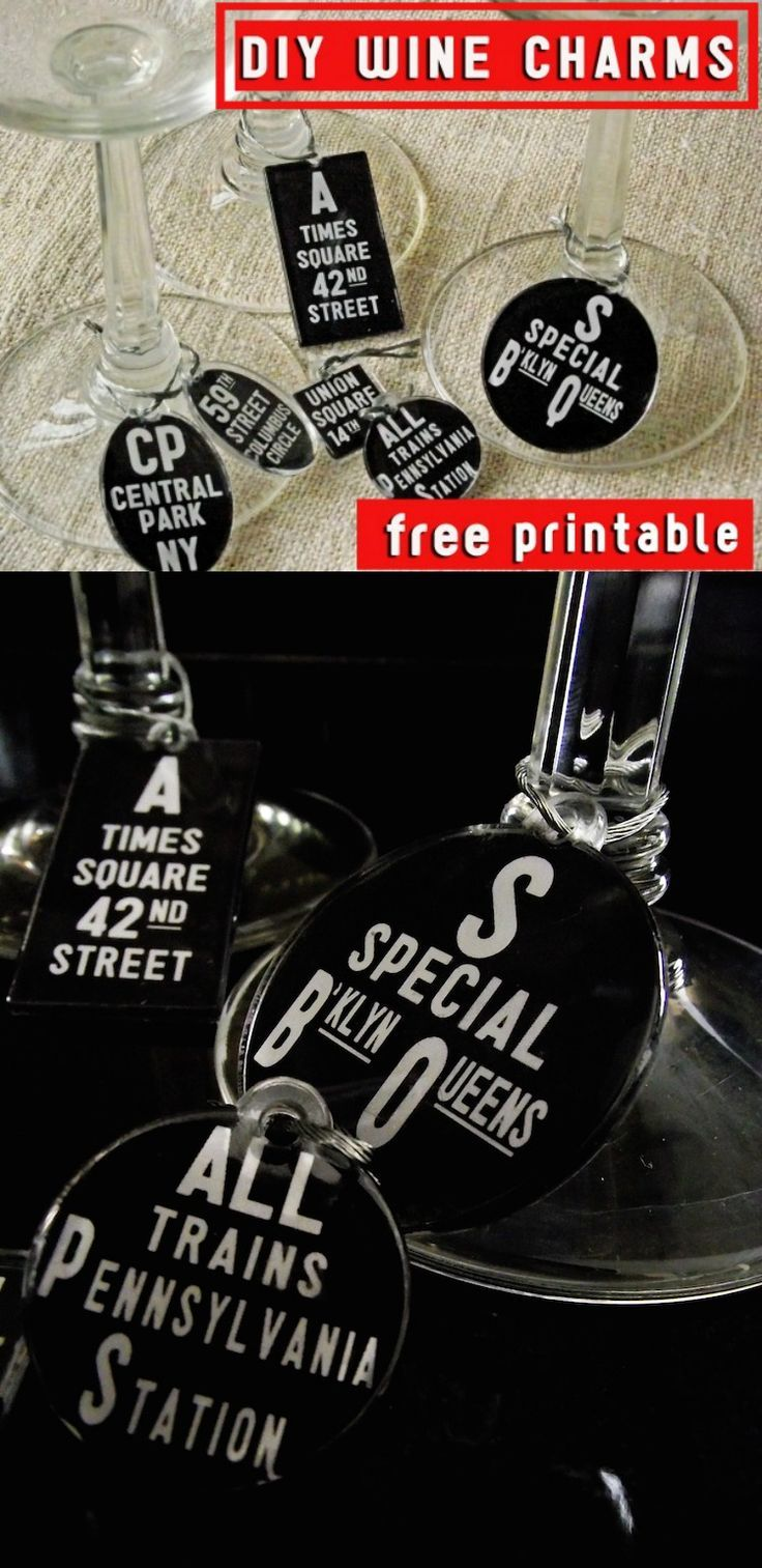 Never lose that glass at a party again! Make these DIY wine charms using Podgeable shapes, a free printable, and decoupage medium.