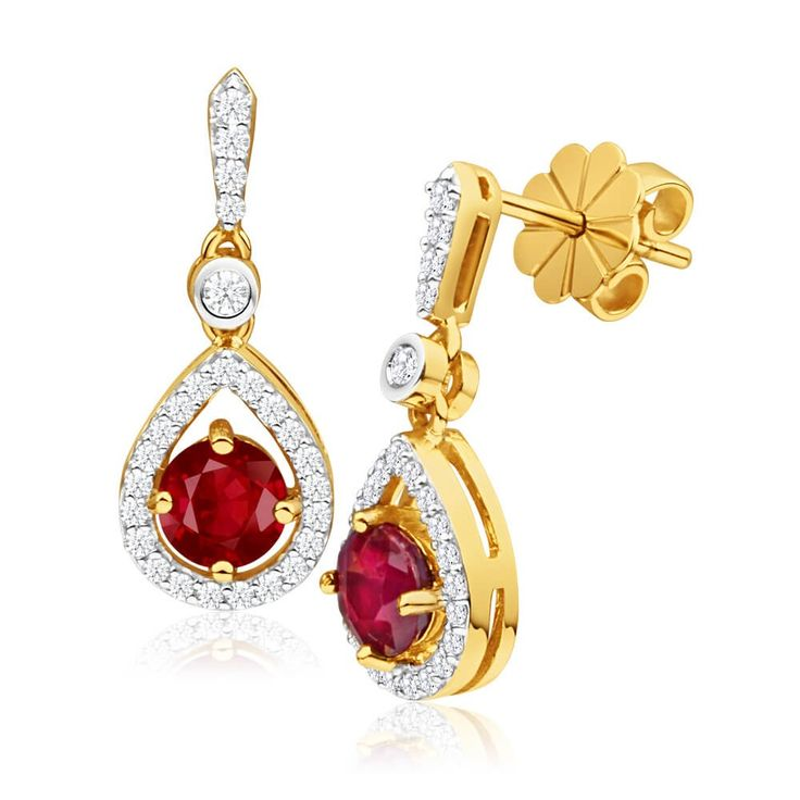 Great choice for Mother of the bride earrings. Showstopper Natural Ruby and Diamond drop Earrings