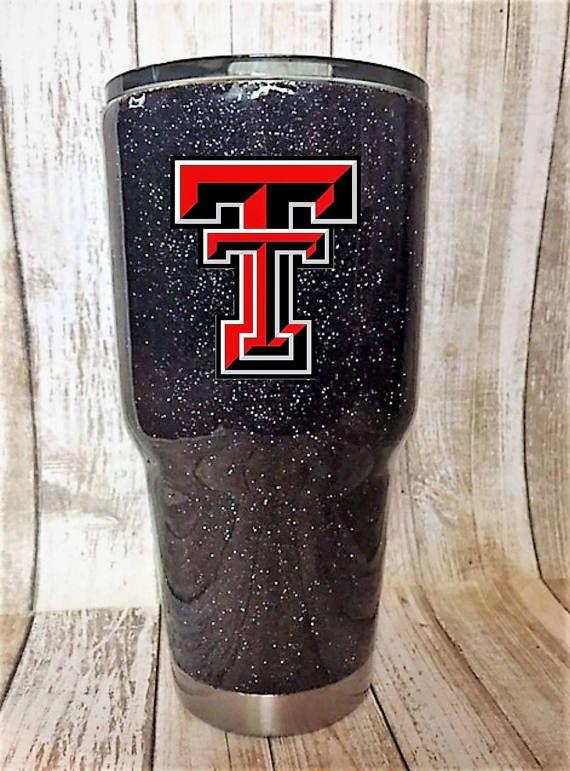 Texas Tech University glitter dipped coated tumbler Texas