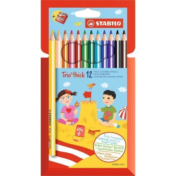 Stabilo Etui Carton De 12 Crayons De Couleur Trio 1 Taille Crayon Lot De 3 En 2020 Trios