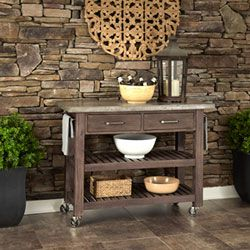 Concrete Chic Brown And Gray Kitchen Cart Serving & Utility Carts Kitchen Islands & Carts