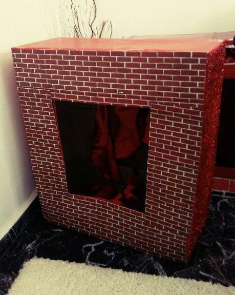 Handmade,diy christmas fireplace,fake,red
