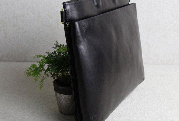 Handmade leather men Briefcase messenger black shoulder laptop bag vin | EverHandmade
