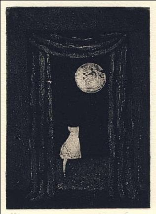 Edward Gorey davidcharlesfoxexpressionism.com #edwardgorey #illustration #drawing #cat #moon #surrealism