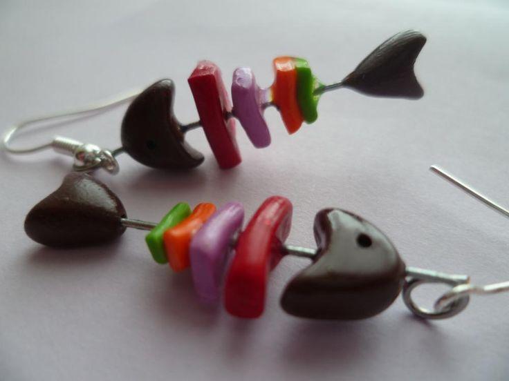 Boucle d'oreille poisson - Fabriquedemeline