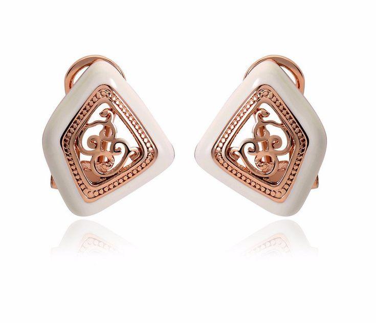 Rose Gold Color Stud Earrings for Women Vintage Earrings White Enamel Hollow Small Earrings Female Women Fashion Jewelry