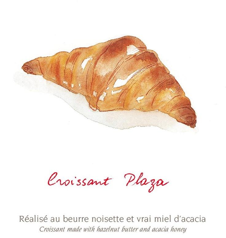 CROISSANT PLAZA Réalisé au beurre noisette et vrai miel d'acacia Croissant made with hazelnut butter and acacia honey