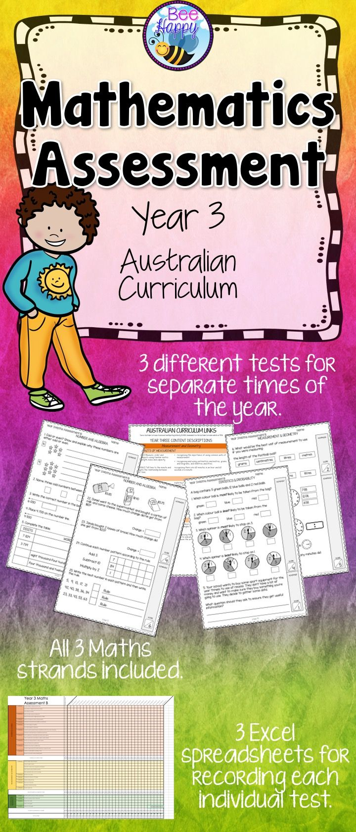 These Maths tests, for year three students, are linked to the Australian Curriculum. They cover Number & Algebra, Measurement & Geometry and Statistics & Probability. This resource includes three assessments, answers, a marking key and an Excel recording sheet which automatically calculates percentages.