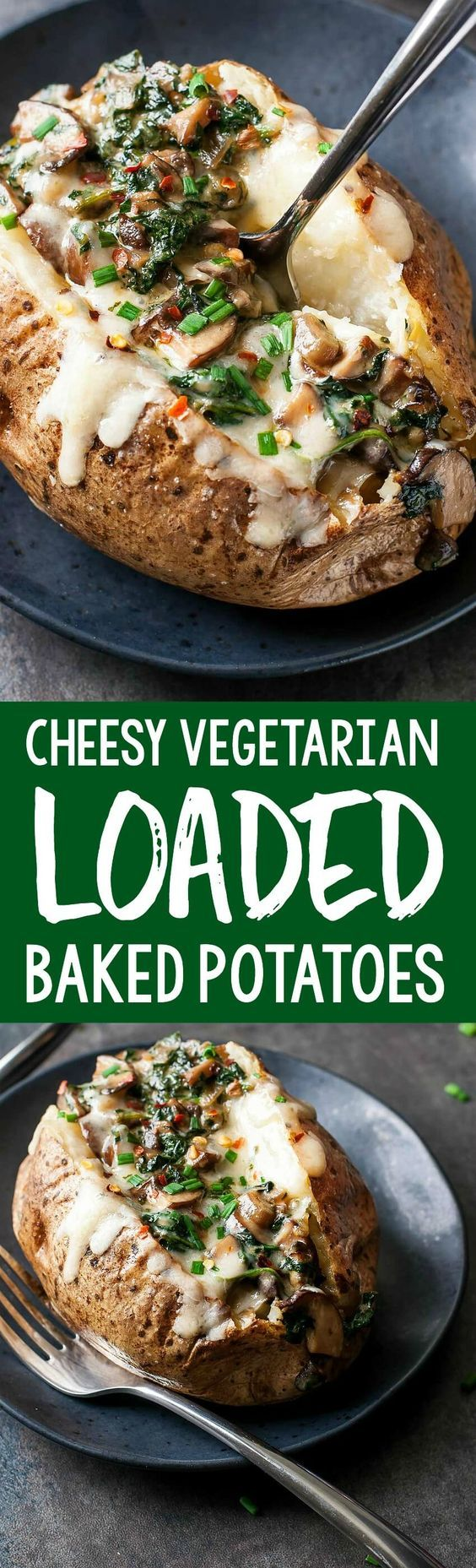 These Cheesy Vegetarian Loaded Baked Potatoes with Spinach and Mushrooms are packed to the brim with the most decadent sauce and a whole lot of veggie deliciousness!