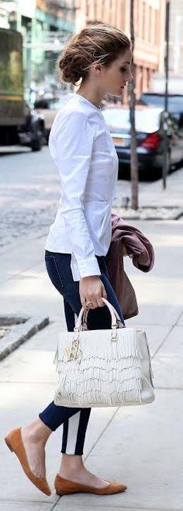 Who made Olivia Palermo's white handbag? Purse – CH Carolina Herrera