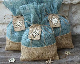 Bolsas de arpillera de regalo Set de CUATRO blanco por FourRDesigns