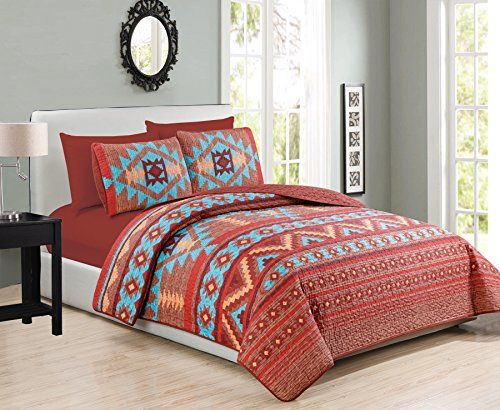 "Western Southwestern Native American Tribal Navajo Design 6 Piece Set Multicolor Turquoise red Orange Brown California King Size Bedspread Quilt Coverlet with Cal King Sheet Set  This elegant quilt set features southwestern pattern in Brown Turquoise Red on soft microfiber. One quilt, 2 pillow shams, 1 fitted sheet and 2 pillowcases included.  One Cal King Quilt (108""x95"")  2 Pillow Shams (20""x36"")  One Fitted Sheet(72""x84"") / 2 Pillowcases(20""x40"")  100% Polyester / Machine Washable"