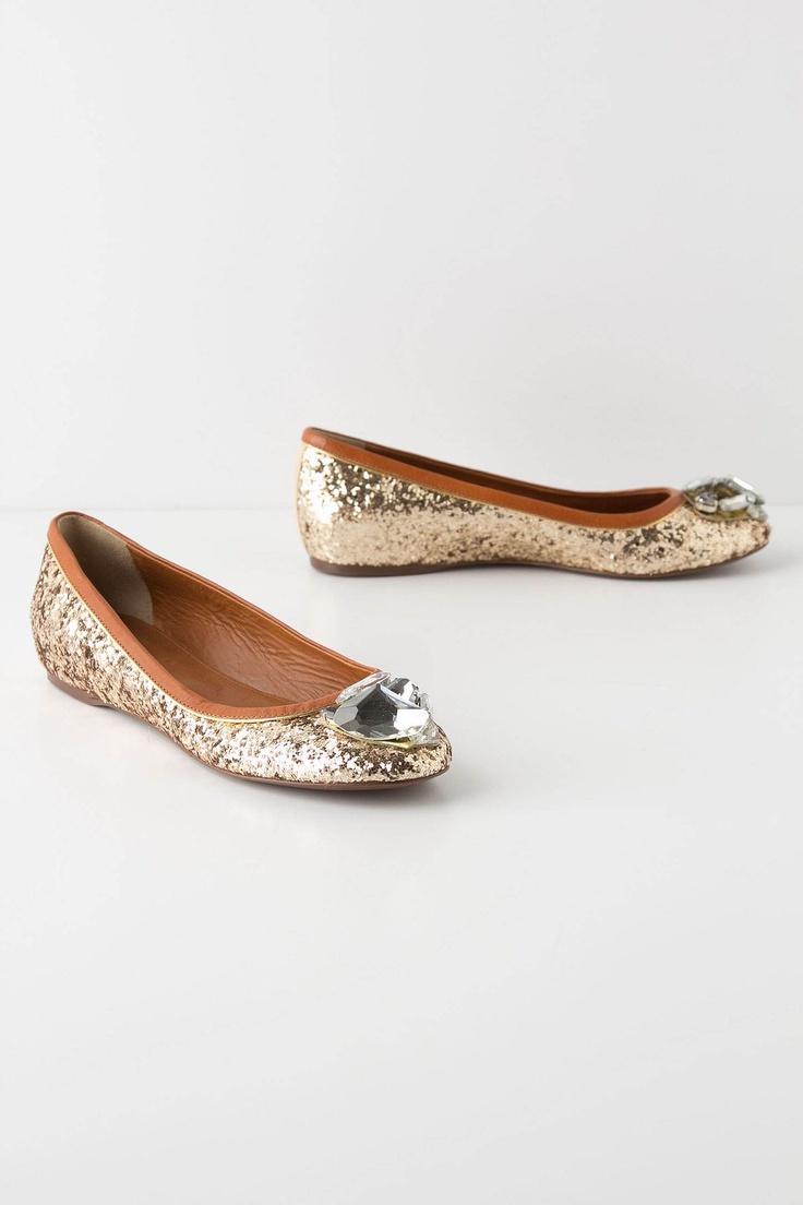 toecap treasure flats / anthropologie: Bling Shoes, Treasure Flats, Gold Sequins, Bridesmaid Shoes, Ballet Flats, Parties Shoes, Glittery Flats, Glitter Flats, Toecap Treasure