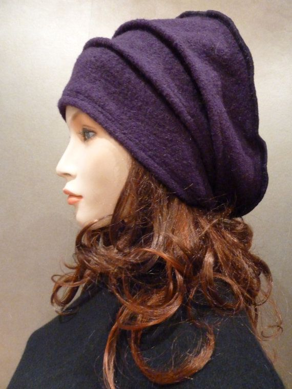 "Unique slouchy chic lagenlook aubergine purple by whitebagheera   Measurements approx. 20""- 24"" or 52cm- 62cm."