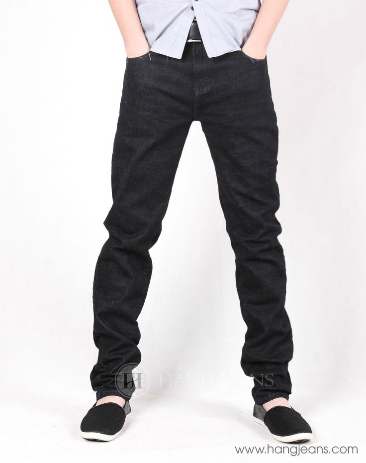 Hằng Jeans - Quần jeans nam côn đứng đen trơn 15AT1015