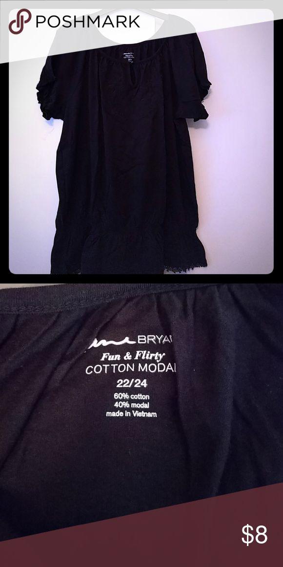 Lane Bryant black cotton top From the Fun & Flirty line Elastic bottom Size 22/24 Lane Bryant Tops Tunics