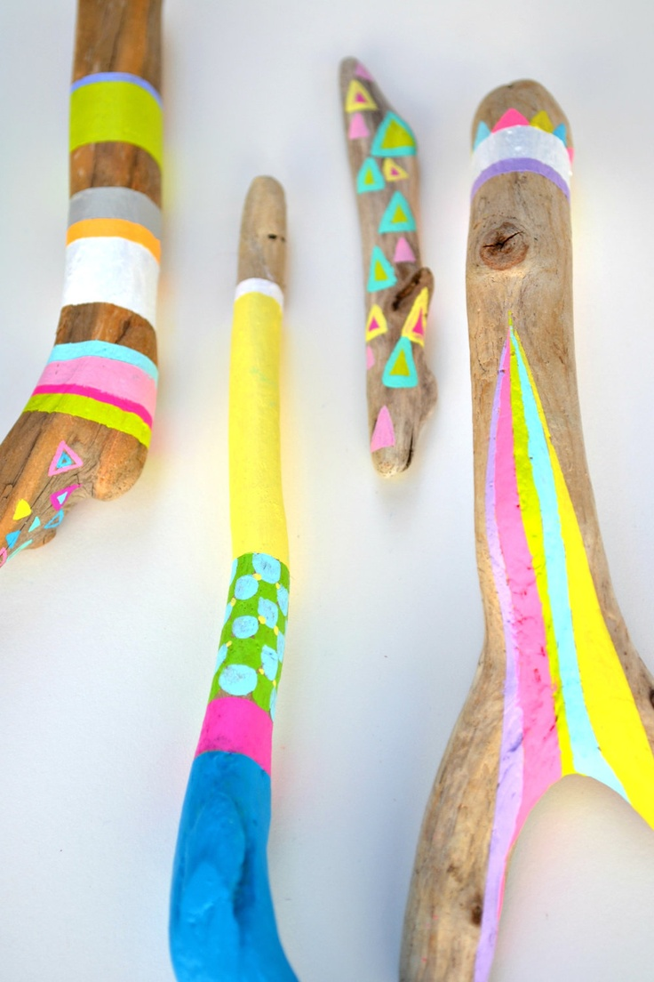 Painted Sticks - 6 Piece Collection, Tribal Geometry, Neon Triangles, Stripes, Chevron, Rainbow - Braid, Feather - Beach Decor, Driftwood. $135.00, via Etsy.