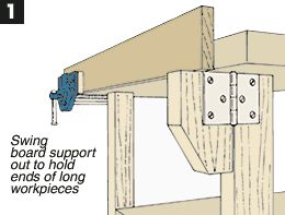 A swing out support when working with long stock. Simple and Effective! #dragonworksstudio #woodworking