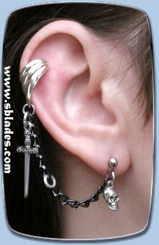 Blade ear cuff earring, Gothic pirate earcuff jewelry, Punk non-pierced to multiple-pierced earring. Handcrafted to order by Chainmail & More