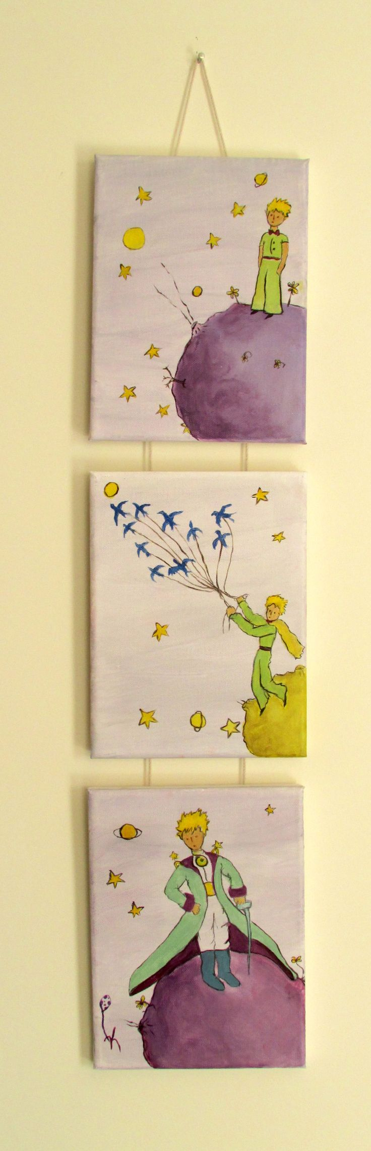 set of 3 Little Prince hanging all together with a rope