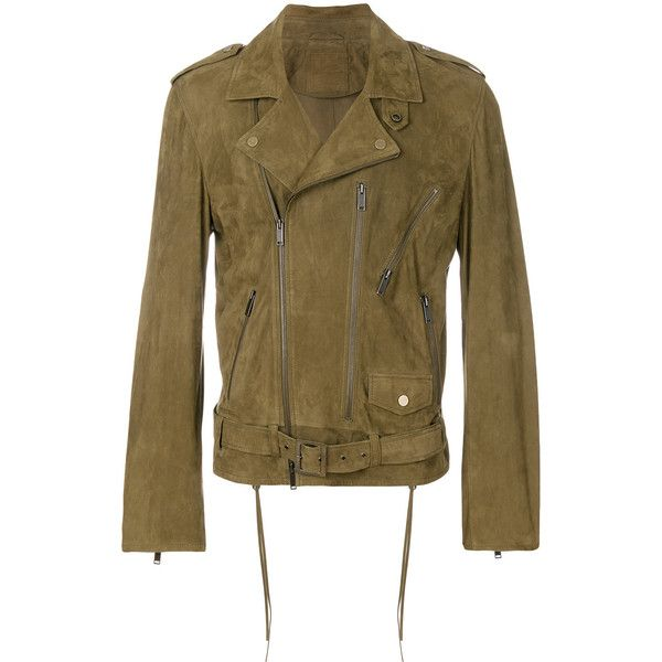 Desa 1972 classic biker jacket (3.655 BRL) ❤ liked on Polyvore featuring men's fashion, men's clothing, men's outerwear, men's jackets, green, mens suede motorcycle jacket, mens suede biker jacket, mens suede moto jacket, mens green jacket and mens suede leather jacket
