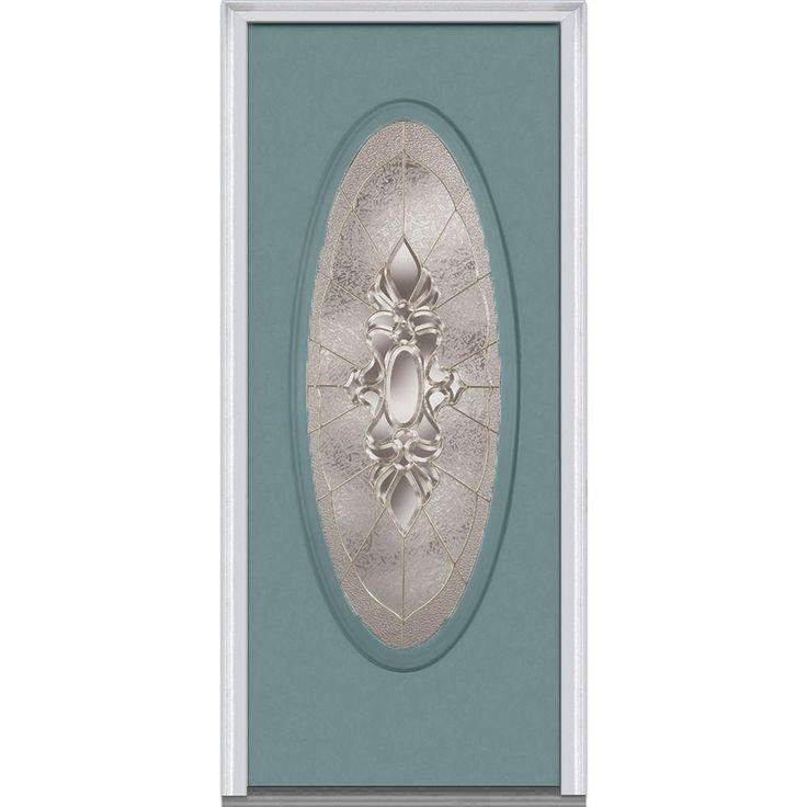 Milliken Millwork 31.5 in. x 81.75 in. Heirloom Master Decorative Glass Full Oval Lite Painted Majestic Steel Exterior Door, Riverway