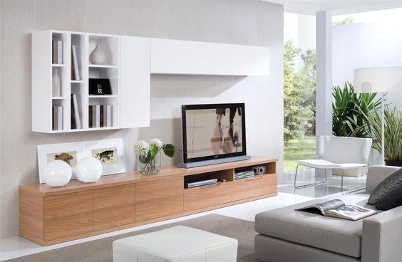 Modern Living Room TV / mueble de tv en acrilico blanco y enchape de madera