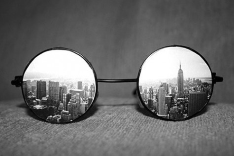 view of NY city from a pair of glasses