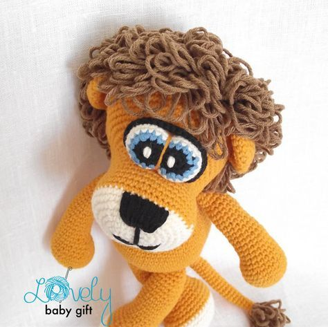 This is a DOWNLOADABLE crochet pattern and NOT the lion toy. Pattern is written in ENGLISH (using US crochet terminology), DANISH, DUTCH, GERMAN, FRENCH and SPANISH languages. This stuffed lion toy is easy to make, if you know all the basic crochet terms: - crocheting in rounds - chain, slip, single crochet stitch - increasing and decreasing Tutorial comes with lots of photos illustrating the process to help you. Pattern can be made with sport or worsted weight yarn. The finished lion…