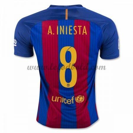 Billige Fodboldtrøjer Barcelona 2016-17 A. Iniesta 8 Kortærmet Hjemmebanetrøje