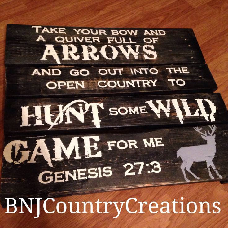 In Stock! Hand Painted Hunting Wood Pallet Sign Bible Verse Scripture Quote Perfect Gift, Man Cave, Country Rustic Home Decor  by BnJcountrycreations on Etsy