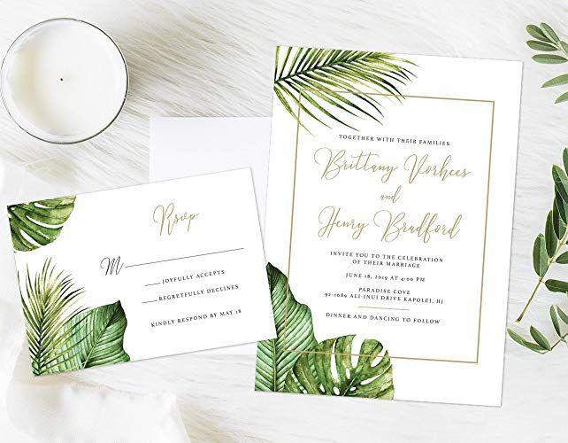 Tropical Wedding Invitation Formal Tropical Wedding Invitation