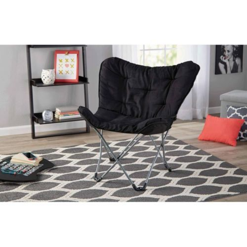 Padded-Butterfly-Chair-Folding-Collapsible-Bedroom-Dorm-Den-Seat-Microsuede-Blac
