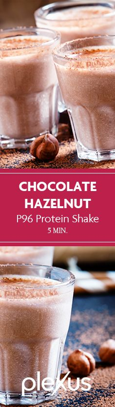 A healthy, chocolatey, hazelnuty whey protein shake sure to satisfy your taste buds.