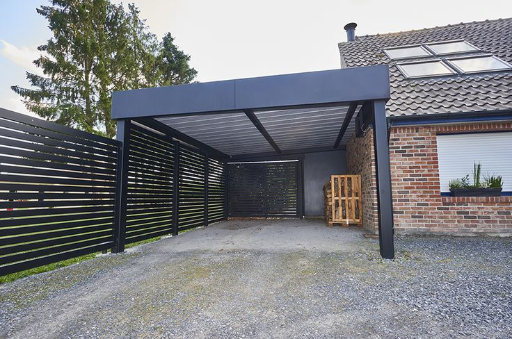 Carport en Bois d'Epicéa Traité avec Couverture en PVC 15