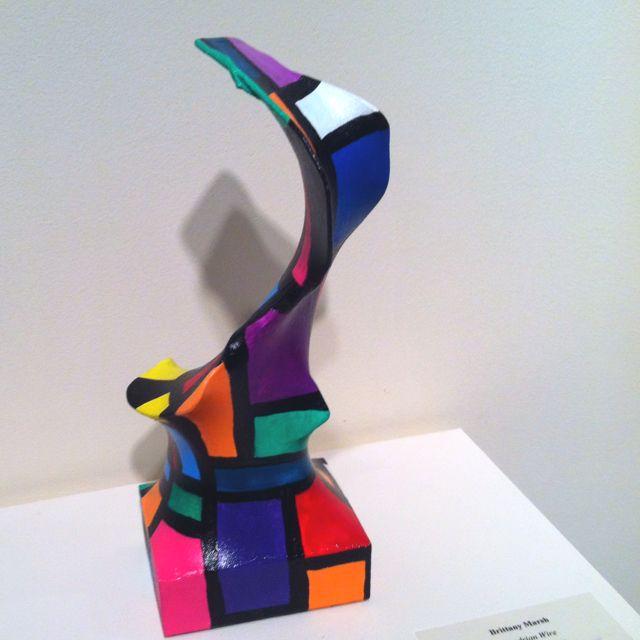 Nylon stocking, hanger, acrylic paint, gesso = awesome!