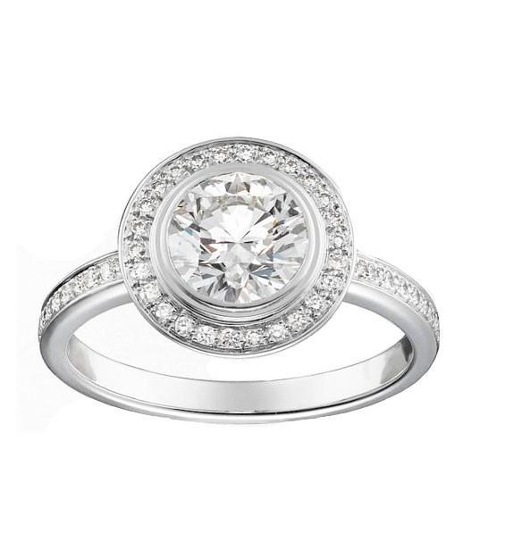 Réplica solitario Cartier D´AMOUR PAVE, anillo de compromiso