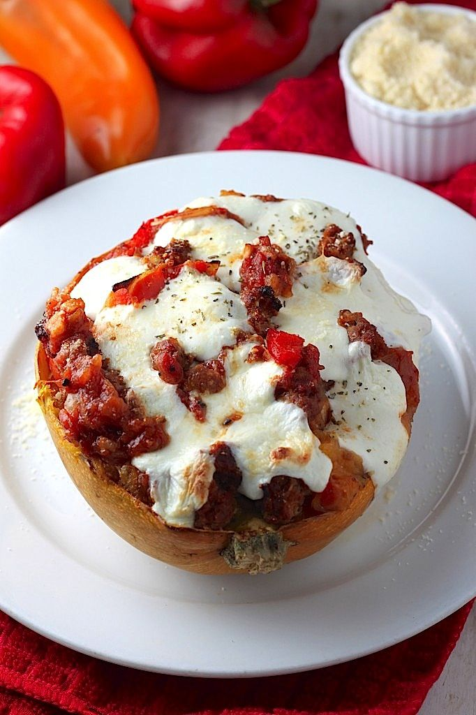 Italian Sausage, Pepper, and Onion Stuffed Spaghetti Squash Boats