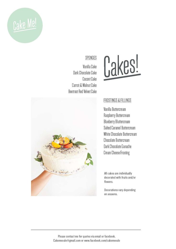My new layer cake menu is now available.  You can combine sponges with frostings and filling of your choice :)   By Cake Me! Oslo www.facebook.com/cakemeoslo