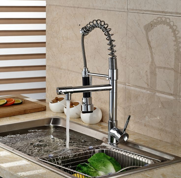 Luxury Deck Mount One Handle Spring Pull Down Kitchen Mixer Water Faucet Double Spout Kitchen Mixers Taps